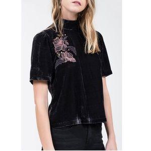 J.O.A. Short Sleeve Embroidered Velvet Top L